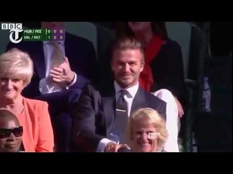 Beckham catches ball at Wimbledon