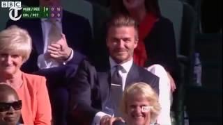 Beckham catches ball at Wimbledon