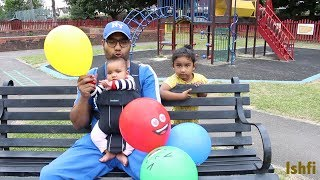 Outdoor Playground Fun & Learn English Colors with Balloon for Kids