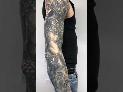 Perseus Killing Medusa Black And Grey Tattoo Sleeve