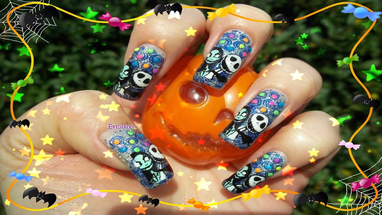Tuto Nail Art Jack Skellington & Sally Tim Burton Stamping - YouTube