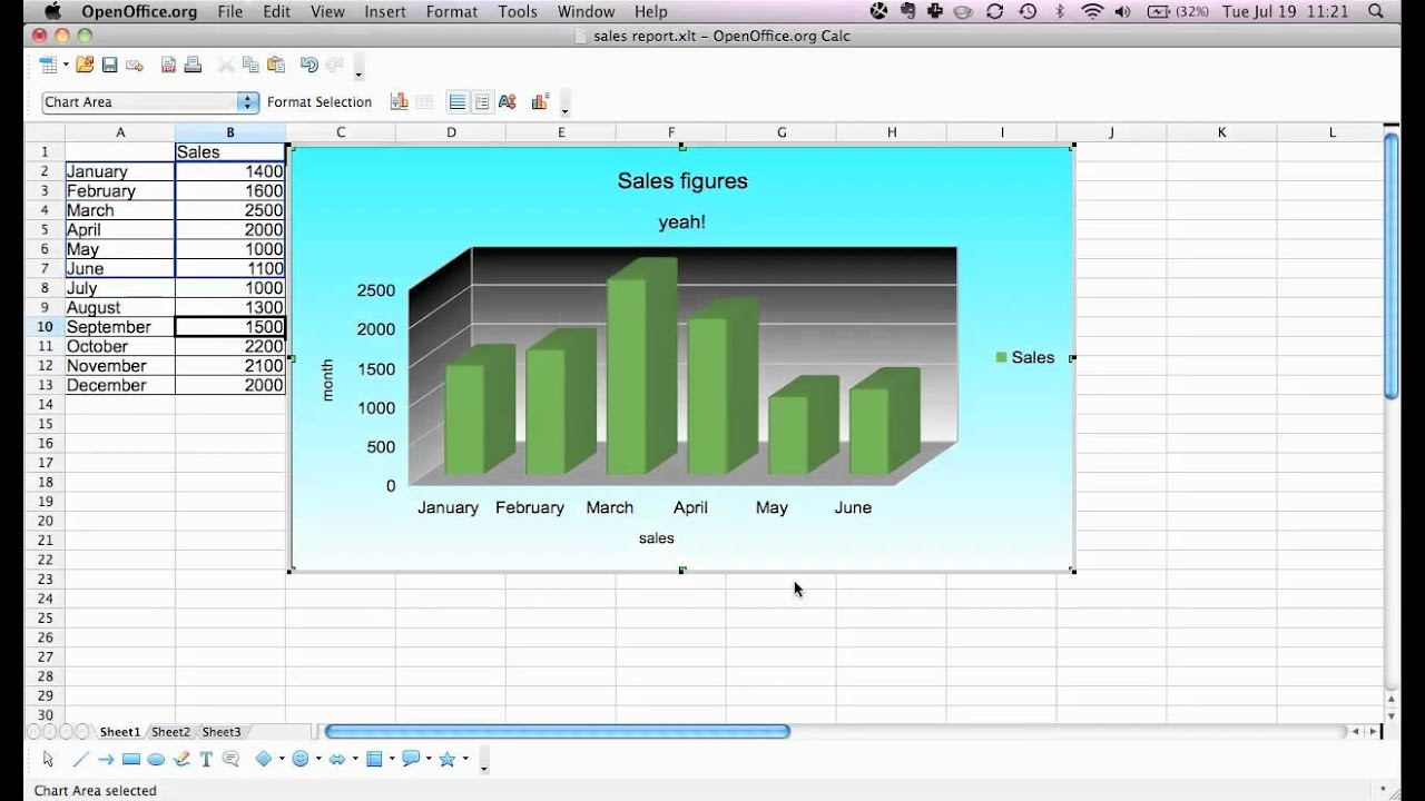 Formatting Charts In Open Office Calc Youtube