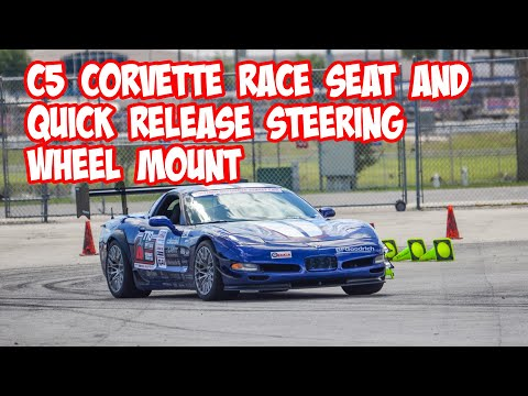 C5 Corvette race seat and quick release steering wheel mount. GRM Live! Presented by CRC Industries