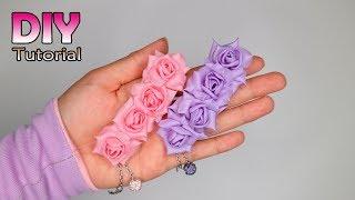 DIY || How to make fabric flowers | Roses | Tutorial bunga deret dari kain | Satin ribbon