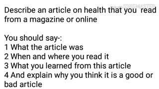 Describe an article on health …