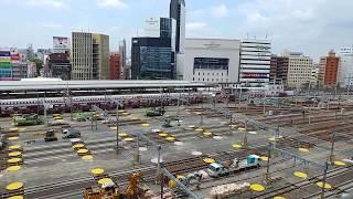 リニア中央新幹線の工事に備えるためのJR名古屋駅構内の在来線ホームの撤去作業工事 2018.6.17