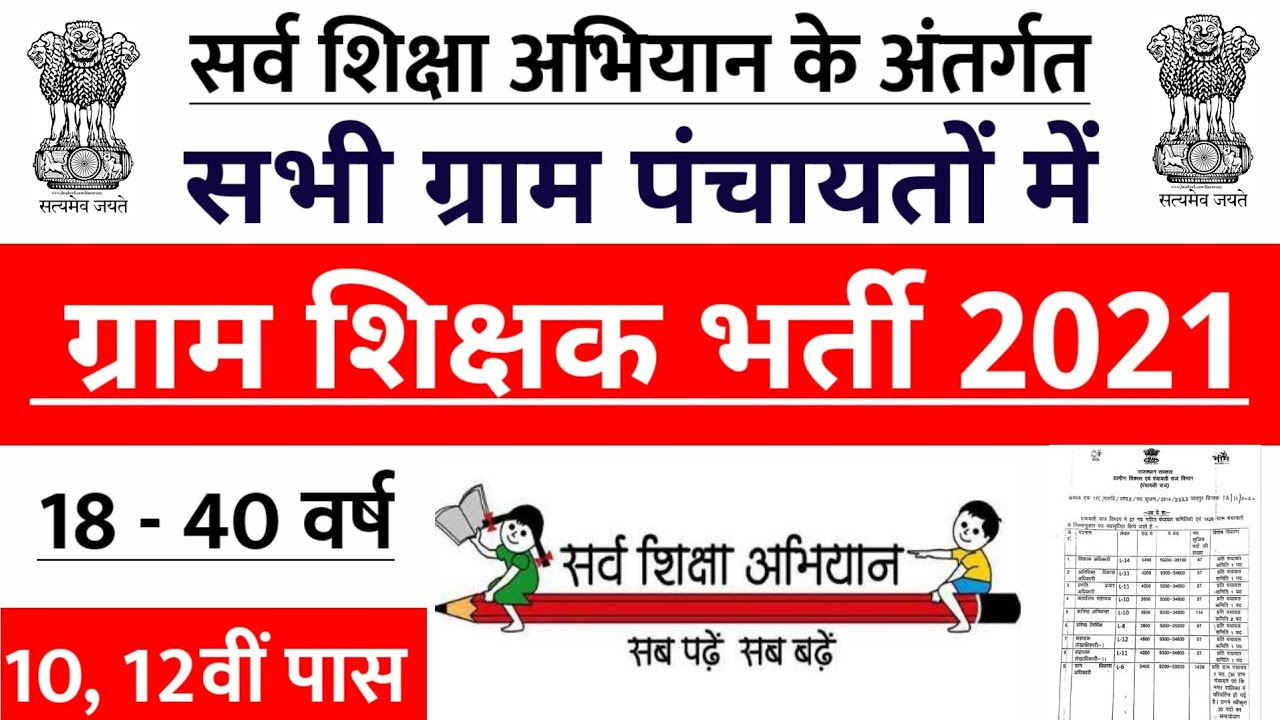 सर्व शिक्षा अभियान भर्ती 2020, Gram Panchayat Shikshak, new vacancy 2020, sarkari naukari 2020