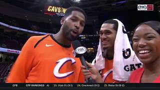 Tristan Thompson & Jordan Clarkson with the postgame energy after Cavs beat Hornets