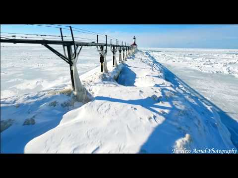 Ice In The Wind, Amazing Aerial Tour Of Frozen Lake Michigan