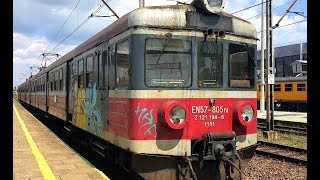 PKP Polish Railways Heavily graffitied EN57 EMU rake parked at Osweicim (former Auschwitz)