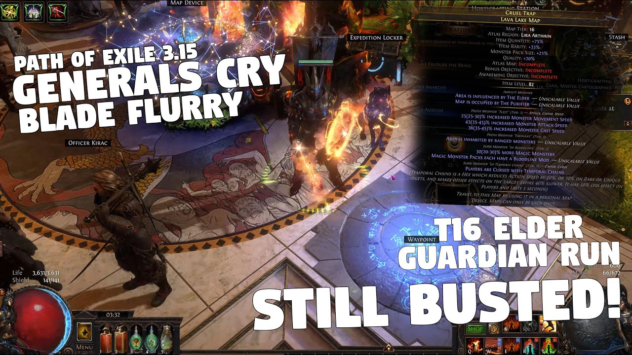 Path of Exile 3.15 - Generals Cry Blade Flurry - T16 Elder Guardian - STILL BUSTED!