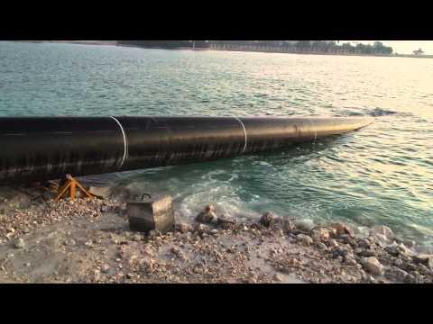 Towing Of H.D.P.E Pipe Line To Sea For Sub Sea Installation - QATAR