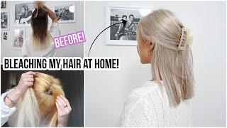 BLEACHING MY HAIR BROWN TO BLONDE using BOX DYE!! At Home...  | Naomi Victoria
