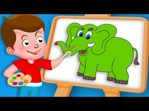 Drawing Elephant Paint And Colouring For Kids Kids Drawing TV