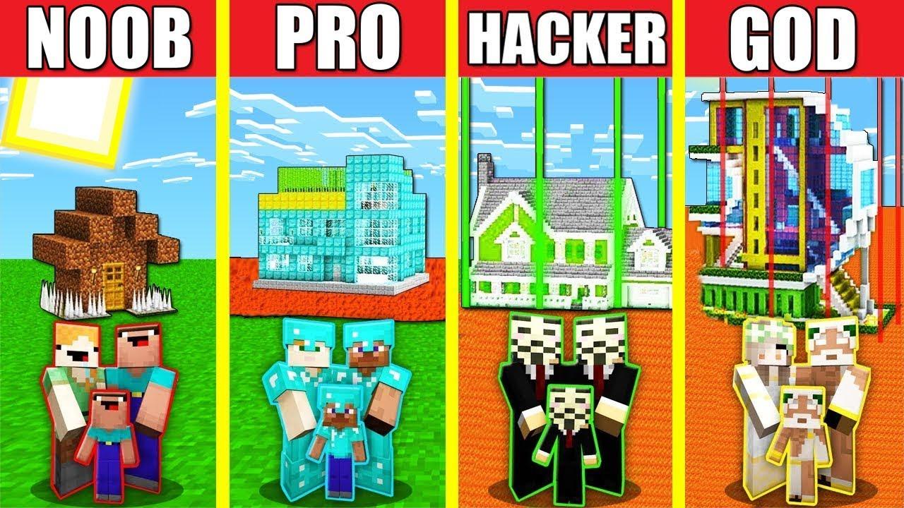 Minecraft Battle: SECURE SAFEST HOUSE BUILD CHALLENGE - NOOB vs PRO vs HACKER vs GOD / Animation