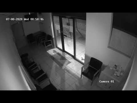 A man is wanted in Nassau County after destroying the front door of a Hempstead business.