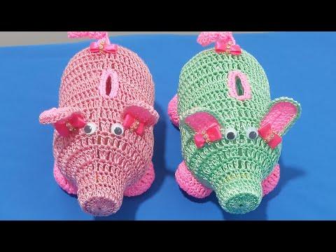 PORQUINHO PORTA MOEDAS DE CROCHÊ 🐷💗 | Valdenete crochê artes e reciclagem