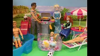 Anna and Elsa's morning routine, Barbie BBQ party, Barbie and Ken party routine, Anna and Elsa party