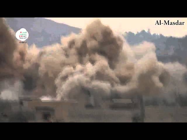 Heavy Syrian Airstrike With 4 Bombs on Moadamiyeh in Damascus
