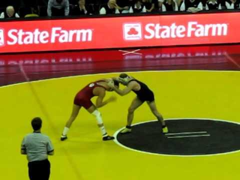 Iowa's 174 pound Jake Kerr wrestles Indiana's Nick Avery