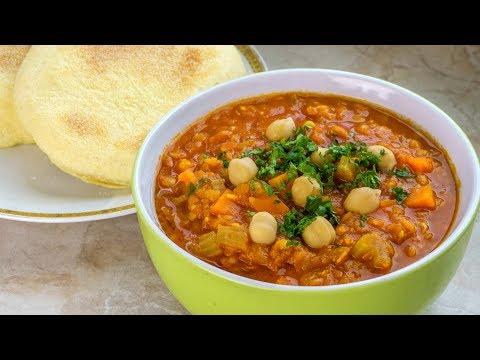 Marokkanische Harira   Linsensuppe   Vegan Vegetarisches Rezept