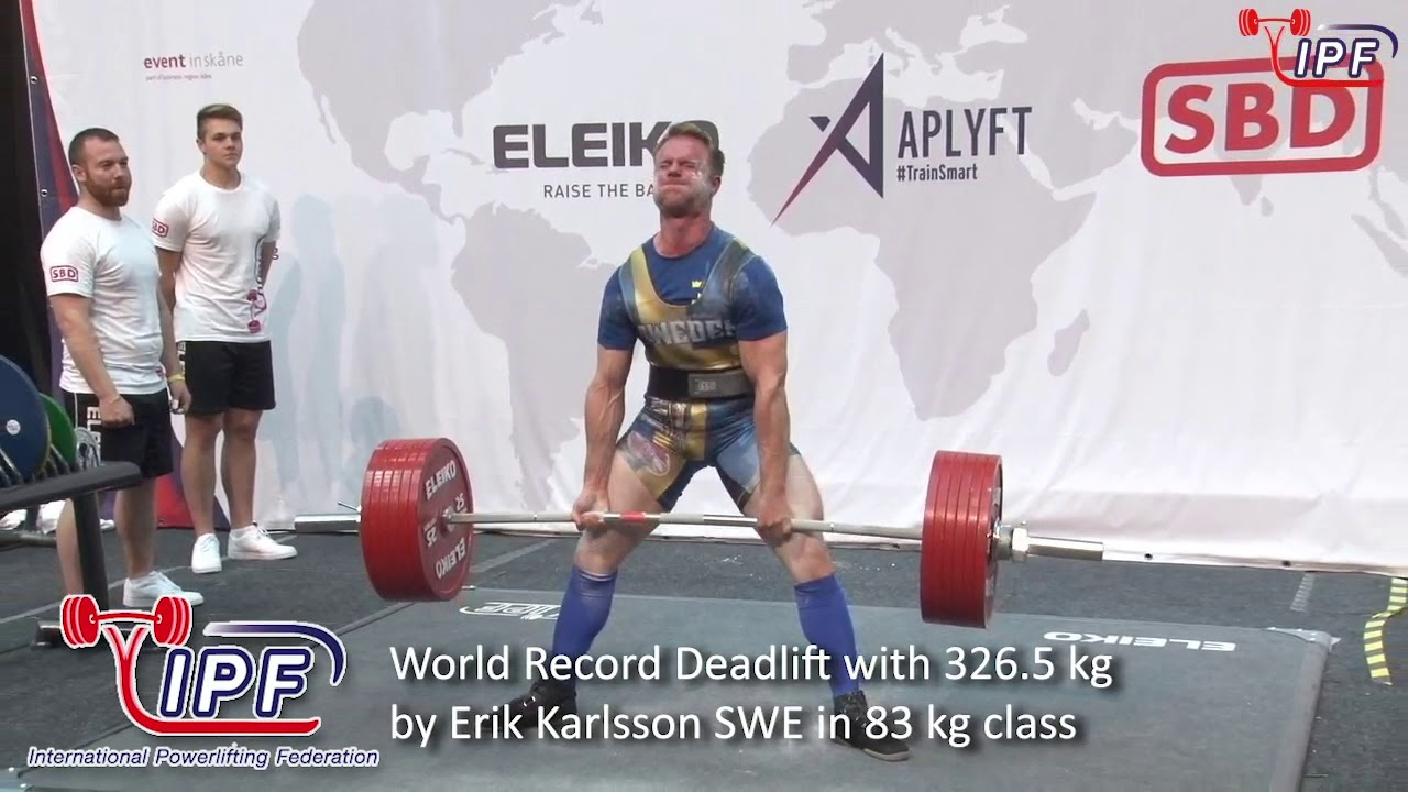World Record Deadlift with 326 5 kg by Erik Karlsson SWE in 83 kg class