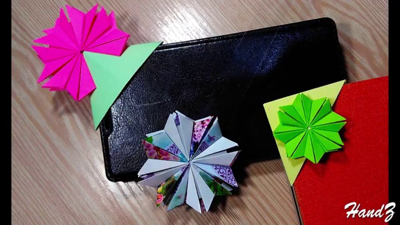 Diy 3 Paper Bookmarks Transparent Acetate Origami Flowers Flor
