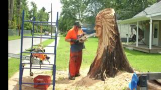 Boatright Indian Chief Chainsaw Sculpture