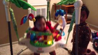 Kalel on a jump toy thing