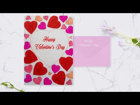Valentine's day drawing step by step / Valentine's day card making ideas simple / easy for beginners