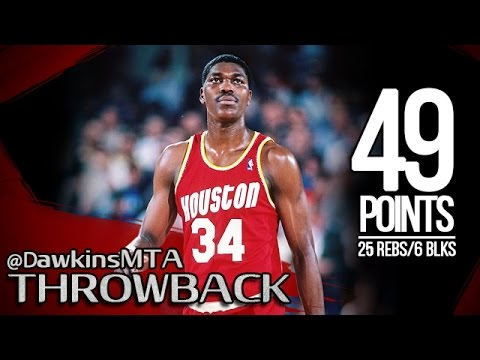 Hakeem Olajuwon Full Highlights 1987 WCSF Game 6 at SuperSonics - 49 Pts, 25 Rebs, 6 Blks!