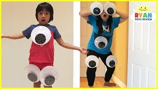 Kid Pranks Mommy and Daddy Giant Magical Googly Eyes with M&M McDonald's Happy Meal Toys