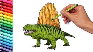 Drawing and Coloring Dimetrodon - Dinosaurs Color Pages for Childrens
