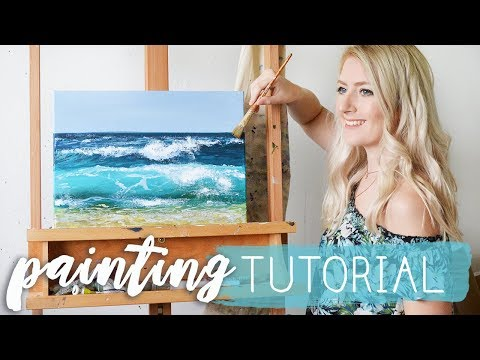 OCEAN PAINTING TUTORIAL | Acrylic Techniques
