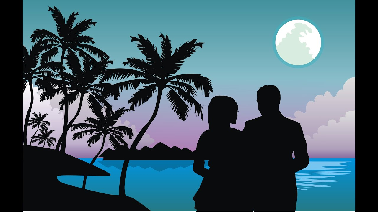 how to draw couple silhouette art in corel draw - YouTube for couple silhouette sunset painting  34eri