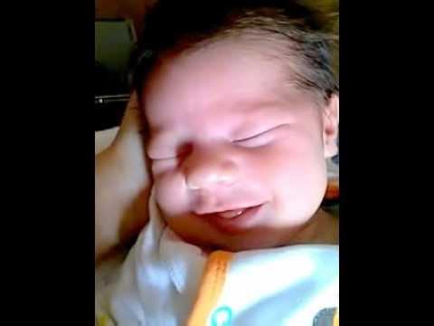 Newborn Baby Laughing In His Sleep :)