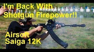 """""""I'm Back With Shotgun Firepower!! Saiga 12K"""" At Virenoja Brickfactory 26.7.2014 Airsoft Headcam"""
