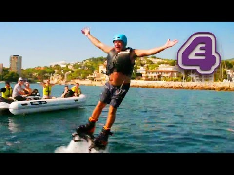 Tour Guide Brendan Has Trouble Staying Above Water On Flyboard   Coach Trip: Road To Marbs