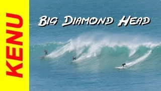 Diamond Head big surf waves in Hawaii