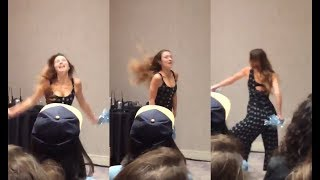 Dominique Provost-Chalkley Dances in front of the fans