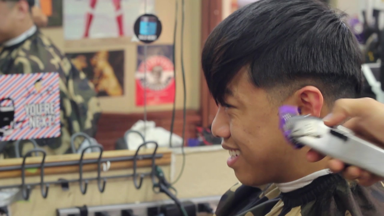 Taper Fade With Bangs Straight Hair By Anthony Da Barber Youtube