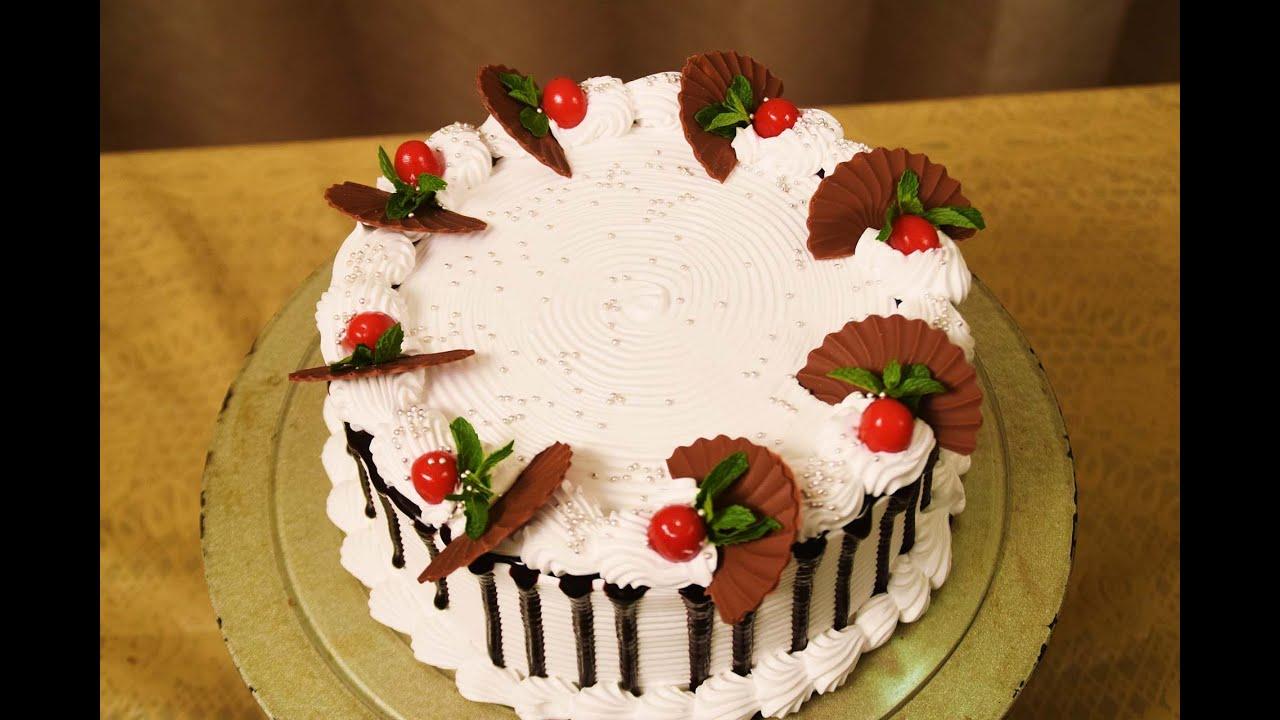 Eggless Ebony & Ivory Cake (Fresh Cream Cake) Easy Icing ...