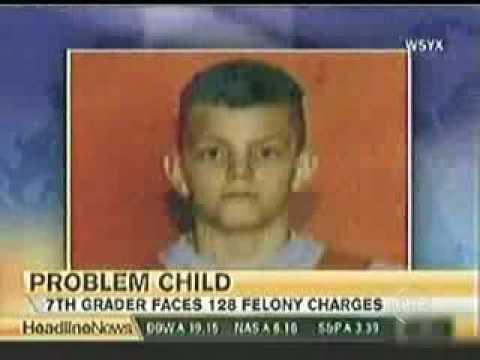 13yr old with 128 felonies