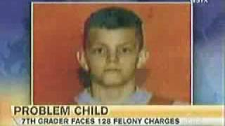 13yr old with 128 felonies