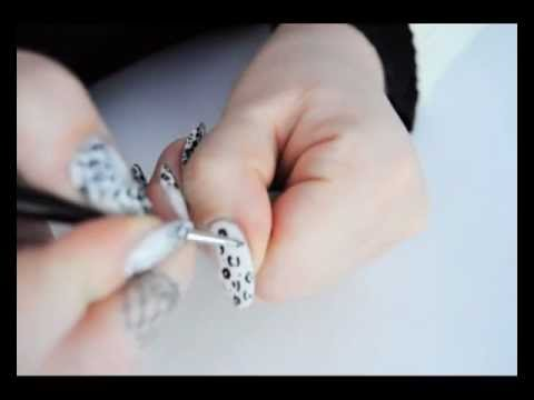 Black White Leapard Diamond Transparent Nail Art Youtube