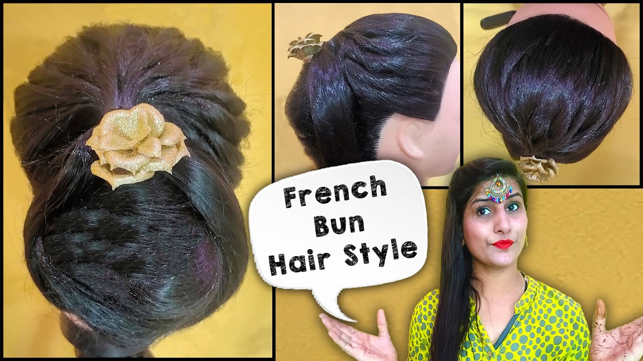 Hairstyle trick   French bun Hairstyle   French Roll   French Twist   Beauty Fashion With Reshu