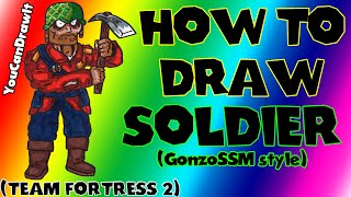 How To Draw Soldier from Team Fortress 2 ✎ YouCanDrawIt ツ 1080p HD (GonzoSSM style)