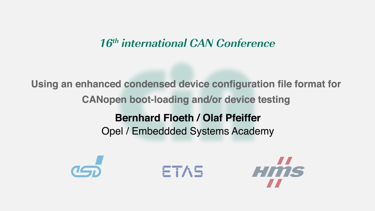 CAN in Automation (CiA): The international CAN Conference (iCC)