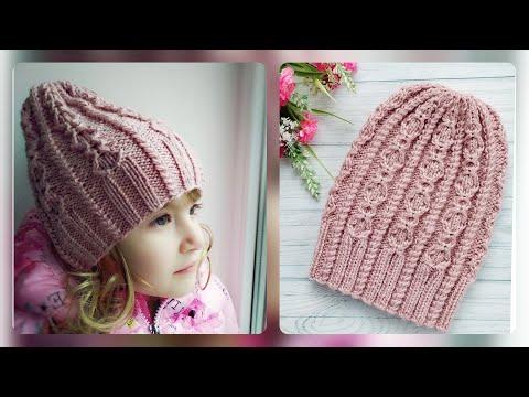 Как связать шапку спицами для девочек