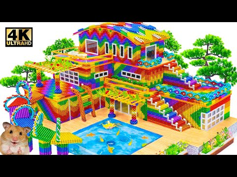 ASMR Video | How To Make Rainbow Villa Modern Has Swimming Pool And Water Slide From Magnet Balls